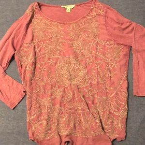 Lucky brand beautiful purple embroidered top